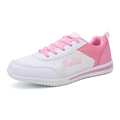 בגדי ריקוד נשים נעליים רשת נושמת / PU סתיו נוחות נעלי אתלטיקה ריצה / הליכה שטוח בוהן עגולה שחור / כחול / ורוד