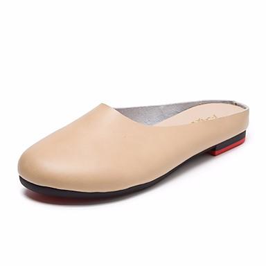 Mujer Zapatos Cuero Verano Mocasín Zuecos y pantuflas Tacón Plano Dedo redondo Gris / Color Camello / Borgoña 7owmllJ