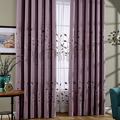 Curtains Drapes Living Room Contemporary Cotton / Polyester Printed