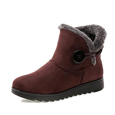 da6d107e2e2 Γυναικεία Ύφασμα Χειμώνας Μπότες Χιονιού Μπότες Επίπεδο Τακούνι Μποτίνια  Μαύρο / Καφέ / Κρασί / EU36