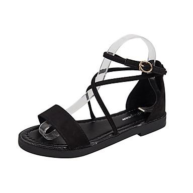 Mulheres Sapatos Borracha Verão Conforto Sandálias Caminhada Sem Salto Pedrarias Preto / Bege / Marron
