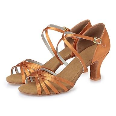 Mujer Seda Zapatos de Baile Latino Corbata de Lazo Tacones Alto Tacón Cuadrado Personalizables Marrón oscuro / Nudo / Cuero / Profesional