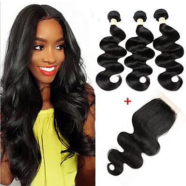 Brazilian Hair Wavy Virgin Human Hair One Pack Solution Human Hair  Extensions Hair Weft with Closure Human Hair Weaves Soft Silky Hot Sale  Human Hair ... 62c9f90b3d