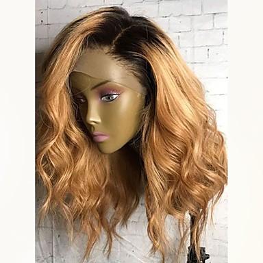 povoljno Perike i ekstenzije-Virgin kosa Lace Front Perika Stepenasta frizura Ciara stil Malezijska kosa Wavy Perika 130% Gustoća kose s dječjom kosom Ombre Tamni korijeni Žene Kratko Srednja dužina Dug Perike s ljudskom kosom