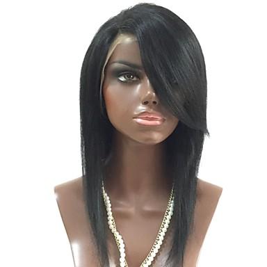 Unbearbeitet Echthaar Spitzenfront Perücke Stufenhaarschnitt Seitenteil Mit Pony Kardashian Stil Brasilianisches Haar Glatt Schwarz Perücke 130% Haardichte mit Babyhaar Für Damen dunkler Hautfarbe