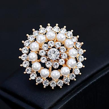 billige Nåler og brosjer-Dame Nåler Blomst Europeisk Mote Perle Brosje Smykker Gull Sølv Til Bryllup Daglig