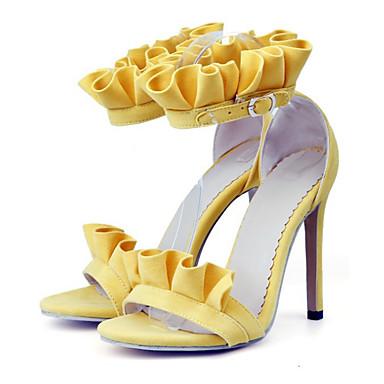 Women's Shoes Nubuck leather Spring / Summer Comfort / Novelty Toe Sandals Stiletto Heel Open Toe Novelty Buckle Orange / Yellow / Pink 9f5d45