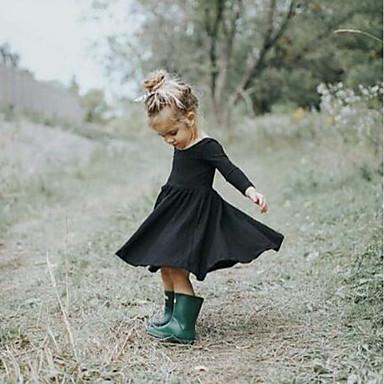Χαμηλού Κόστους Φορέματα για κορίτσια-Νήπιο Κοριτσίστικα Βίντατζ Βασικό Καθημερινά Αργίες Μονόχρωμο Με Βολάν Με Κορδόνια Μακρυμάνικο Βαμβάκι Φόρεμα Μαύρο