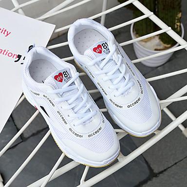 Paseo aire Otoño Primavera de Zapatillas Cordón Zapatos Mujer Tacón Dedo redondo Confort Plano Con para 06068809 Goma Al deporte Blanco libre t8Ew4WqT
