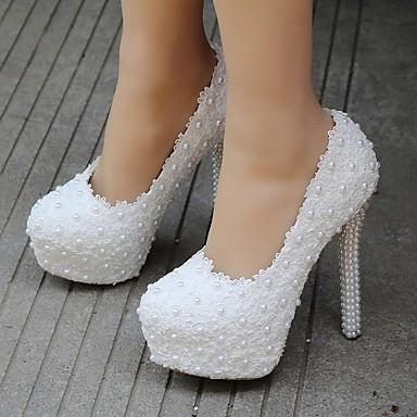 Bout Femme Fleur Talon Nouveauté rond de Polyuréthane Aiguille Perle Confort 06640114 Printemps mariage Chaussures Automne Chaussures en AwArq6P