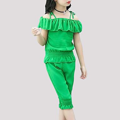 Dzieci Dla dziewczynek Aktywny Codzienny Solidne kolory Krótki rękaw Regularny Poliester Komplet odzieży Zielony