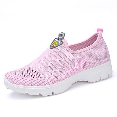 Mulheres Sapatos Borracha Primavera / Outono Conforto Tênis Sem Salto Ponta Redonda Cadarço Cinzento / Vermelho / Azul