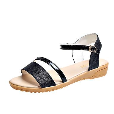 Mulheres Sapatos Couro Ecológico Verão Conforto Sandálias Caminhada Salto Baixo Dedo Aberto Presilha para Ao ar livre Dourado Preto Prata