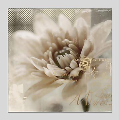 Hang-Malowane obraz olejny Ręcznie malowane - Kwiatowy / Roślinny Nowoczesny Naciągnięte płótka / Rozciągnięte płótno
