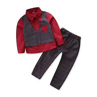 Brzdąc Dla chłopców Zabytkowe / Moda miejska Impreza / Wyjściowe Patchwork Długi rękaw Bawełna Komplet odzieży