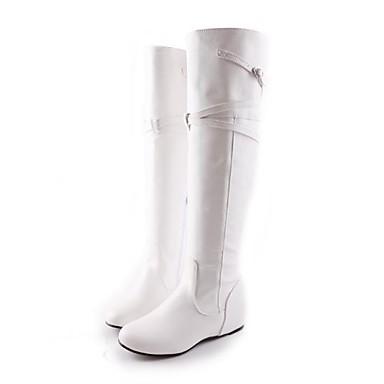 Hauteur Cuissarde compensée Bottes Bout semelle de Bottes Automne Boucle Femme Polyuréthane Hiver Blanc la Mode 06627863 rond à Chaussures 778zqwZ