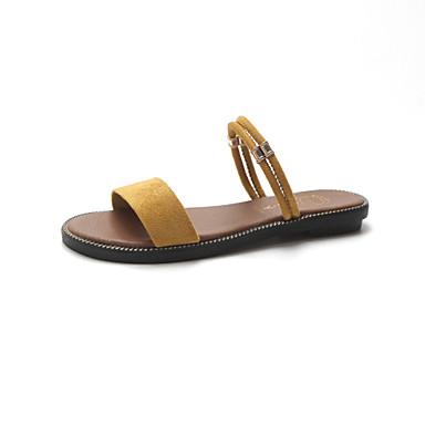 Women's Shoes PU(Polyurethane) Spring / Summer Comfort Sandals Wedge Heel Open Toe Buckle Black / Yellow / Almond