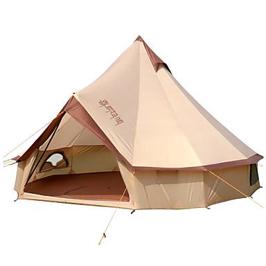 halpa Teltat ja suojat-8 henkilöä Bell-teltta Glamping Tent Ulko- Tuulenkestävä Sateen kestävä Ammattilaisten Yksikerroksinen teltta >3000 mm varten Telttailu / Retkely / Luolailu Matkailu Puuvilla 400*400*250 cm