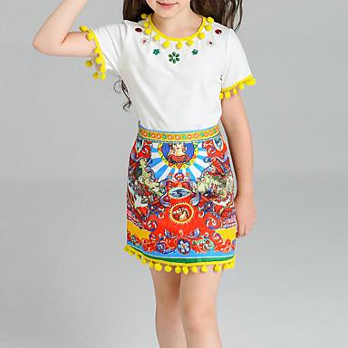Girls' Jacquard Clothing Set, Cotton Spandex Summer Yellow
