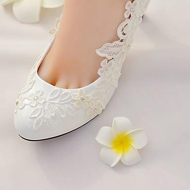 Talon Chaussures de 06627024 Arrière Femme mariage Chaussures Bout A Dentelle Strass Printemps Automne rond Aiguille Polyuréthane Bride HpPqwR