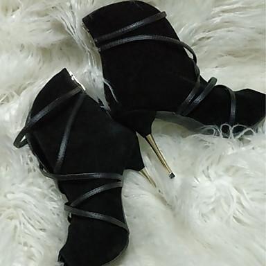 voordelige Dameslaarzen-Dames Laarzen Naaldhak Peep Toe Nubuck leder Korte laarsjes / Enkellaarsjes Comfortabel / Noviteit Lente / Herfst Zwart / Beige / Blauw