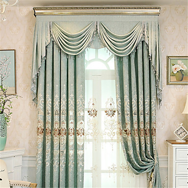 Curtains Drapes Living Room Contemporary Cotton / Polyester Printed ...