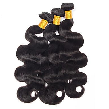baratos Extensões de Cabelo Natural-3 pacotes Cabelo Indiano Onda de Corpo 10A Cabelo Virgem Cabelo Humano Preta Côr Natural Tramas de cabelo humano Nova chegada Coloração Jovem Extensões de cabelo humano Mulheres
