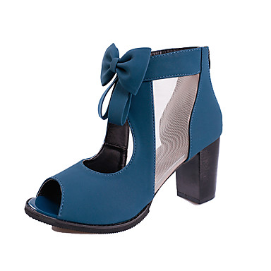 Women's Shoes Denim Summer Light Soles Comfort Sandals Block Heel Open Toe Buckle Tassel for Dress Black Blue