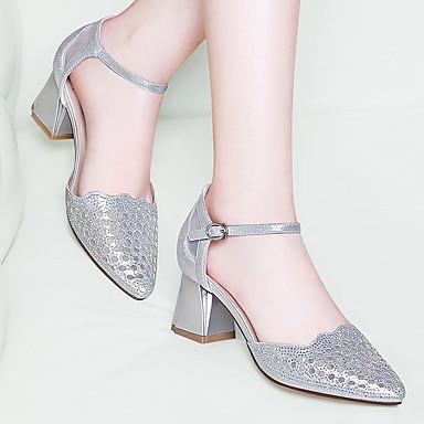 Paillette Escarpin à Femme Bottier Bout Talons Chaussures Argent Eté Gladiateur Automne Chaussures 06612065 Noir Talon ouvert Basique 8x85qwXg