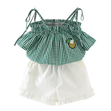 Brzdąc Dla dziewczynek Podstawowy Codzienny Nadruk Bez rękawów Regularny Bawełna / Jedwab wiskozowy Komplet odzieży Zielony 100