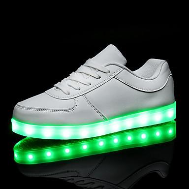 Herre Dame Sko PU Forår Efterår Lysende Sko Komfort Sneakers Flade hæle LED for Afslappet Hvid Sort