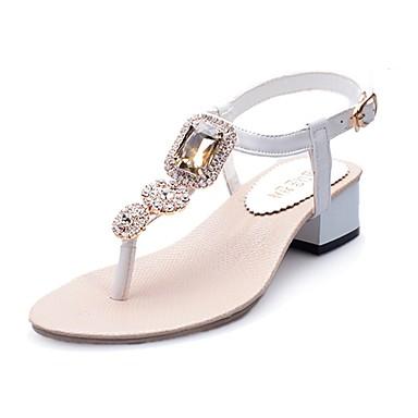 رخيصةأون صنادل نسائية-ador® women \ 's أحذية pu (polyurethane) الربيع / الصيف الصنادل الراحة كعب مسطح الراين / الترتر أبيض / بيج