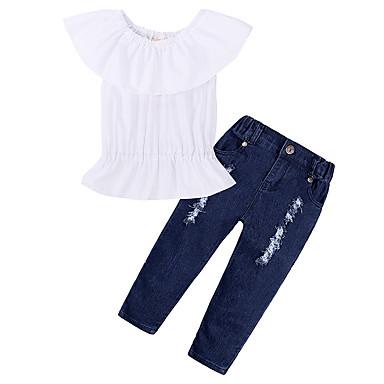 בנות פשוט / יום יומי כותנה מכנסיים - אחיד Ruched לבן / ספורט / קצר / פעוטות