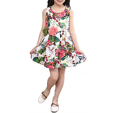f7ab4ec497c Kids Girls  Simple   Vintage Party   Daily   School Floral   Print    Jacquard Sleeveless Cotton Dress White   Cute   Holiday   Going out