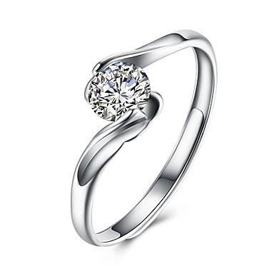 Damskie Cyrkonia Geometric Shape mankiet Pierścień - S925 srebro Moda Regulowany Srebrny Na Impreza Codzienny