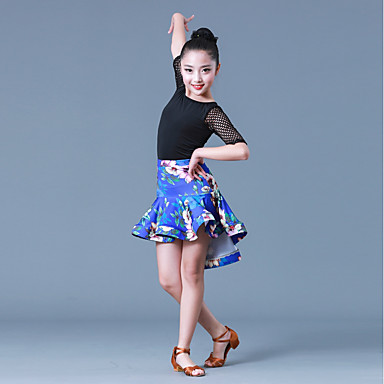 95dce87f0564 Latin Dance Outfits Girls' Training Performance Polyester Milk Fiber Split  Joint Half Sleeves Natural Skirts