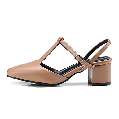 Salomé Marron Golf Similicuir Printemps Sandales Shoes Bout Bottier Boucle Amande Chaussures 06632082 Talon Noir Femme Eté carré qRCx6pxw