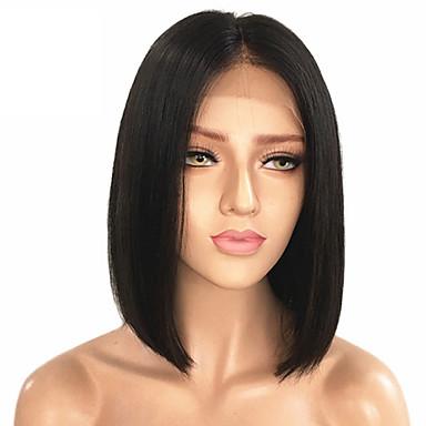 povoljno Perike i ekstenzije-Remy kosa Netretirana  ljudske kose Lace Front Perika Bob frizura Srednji dio Kardashian stil Malezijska kosa Ravan kroj Crna Perika 130% Gustoća kose s dječjom kosom Prirodna linija za kosu
