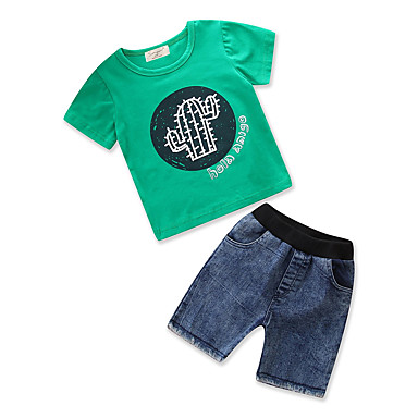 Brzdąc Dla chłopców Aktywny / Podstawowy Codzienny / Wyjściowe Solidne kolory / Nadruk Nadruk Krótki rękaw Regularny Regularny Bawełna / Poliester Komplet odzieży Zielony 100