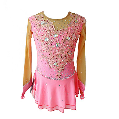 Φόρεμα για φιγούρες πατινάζ Γυναικεία Κοριτσίστικα Patinaj Φορέματα Ροζ  Λουλούδι Spandex Ανταγωνισμός Ενδυμασία πατινάζ Πούλια Αμάνικο 865b7a49752