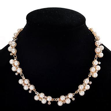 abordables Collier-Colliers Fantaisie Sautoir Perles Femme Perle Perle Imitation Diamant Doré dames Le style mignon Blanc 40+5 cm Colliers Tendance Bijoux pour Soirée Rond