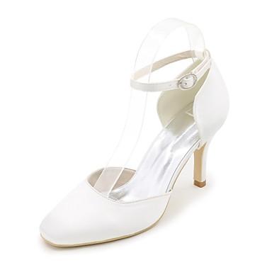 Femme Chaussures Satin Printemps / Eté Escarpin Basique Chaussures de mariage Talon Aiguille Bout carré Boucle Bleu / Champagne / Ivoire