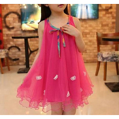 f80d86fc1a Toddler Girls  Street chic Holiday   Going out Solid Colored   Jacquard  Flower   Layered   Mesh Sleeveless Rayon Dress Fuchsia   Cute