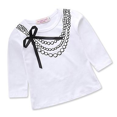baratos Blusas para Meninas-Bébé Para Meninas Activo Diário Feriado Geométrica Laço Estampado Manga Longa Padrão Algodão Camiseta Branco / Fofo