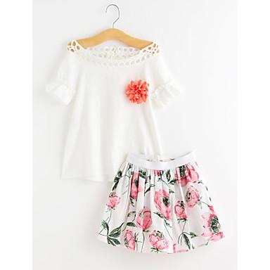 סט של בגדים כותנה קיץ חצי שרוול יומי פרחוני בנות חמוד ורוד מסמיק