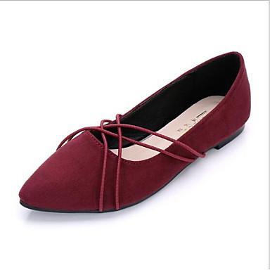 Damskie Obuwie Nappa Leather / Kaszmir Lato Comfort Buty płaskie Płaski obcas Pointed Toe Black / Niebieski / Burgundowy