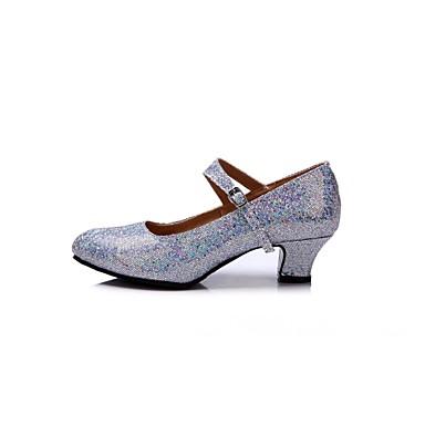 baratos Shall We® Sapatos de Dança-Mulheres Courino Sapatos de Dança Moderna Salto Salto Personalizado Personalizável Dourado / Preto / Prata / Interior / EU42