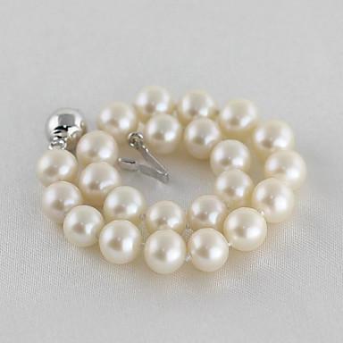 abordables Bracelet-Bracelet à Perles Femme Perle Perle d'eau douce Plaqué argent Perle d'eau douce dames simple Mode Elégant Bracelet Bijoux Blanc Forme de Cercle pour Soirée Cadeau