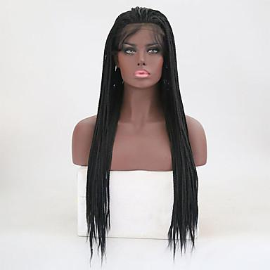 Peluca Lace Front Sintéticas Recto Kardashian Estilo Trenza Encaje Frontal Peluca Negro Negro Natural Pelo sintético Mujer Resistente al Calor Negro Peluca Larga / Sí