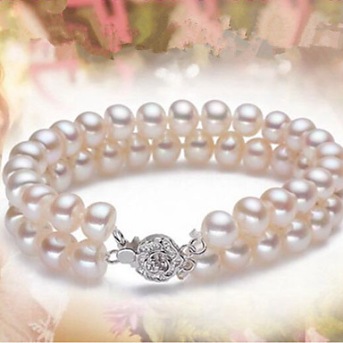 billige Motearmbånd-Dame Perle Ferskvannsperle Perlearmbånd Ball damer Klassisk Mote Perle Armbånd Smykker Hvit Til Fest Daglig